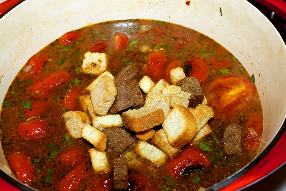 Finally, add the croutons and allow to gently simmer without lid, for ...