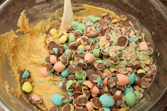 Claudia's Cookbook - Cadbury Mini Egg Skillet Cookie 7