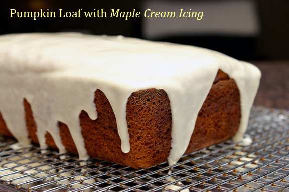 Claudia's Cookbook - Pumpkin Loaf with Maple Cream Icing title