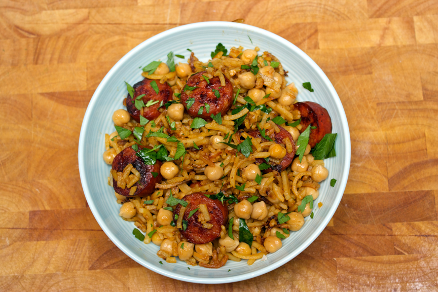 ... Cookbook - Spicy Sweet Potato Noodles with Chorizo and Chickpeas 2