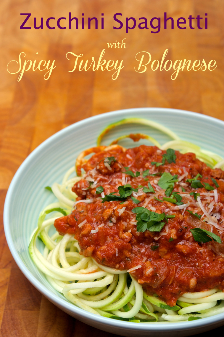 Claudia's Cookbook - Zucchini Spaghetti with Spicy Turkey Bolognese cover