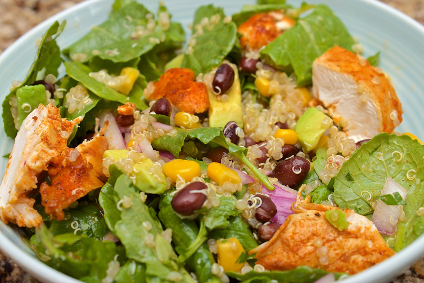 © Claudia's Cookbook - Spicy Kale and Quinoa Salad with Cajun Chicken 9
